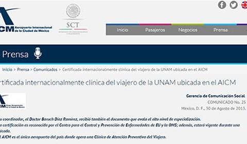 Clínica del Viajero de la UNAM obtiene certificación mundial en Medicina del Viajero