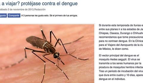 Evite los picaduras de mosquitos y el dengue si viajará en épocas de lluvia
