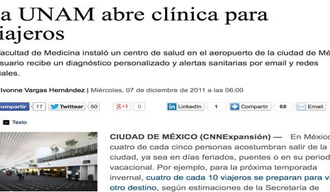 UNAM innova al abrir una Clínica del Viajero